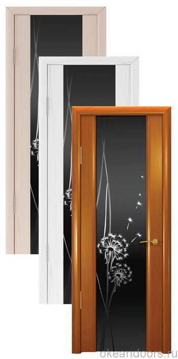 """Коллекция дверей Океан Шторм-3 """"Одуванчик"""" (10 цветов, черное стекло)"""