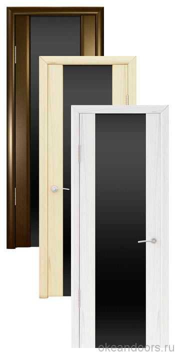 Коллекция дверей Океан Шторм-3 (10 цветов, черное стекло)