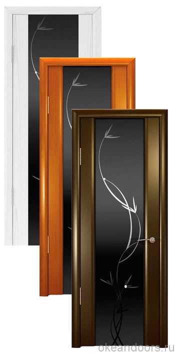 """Коллекция дверей Океан Шторм-3 """"Растение"""" (10 цветов, черное стекло)"""
