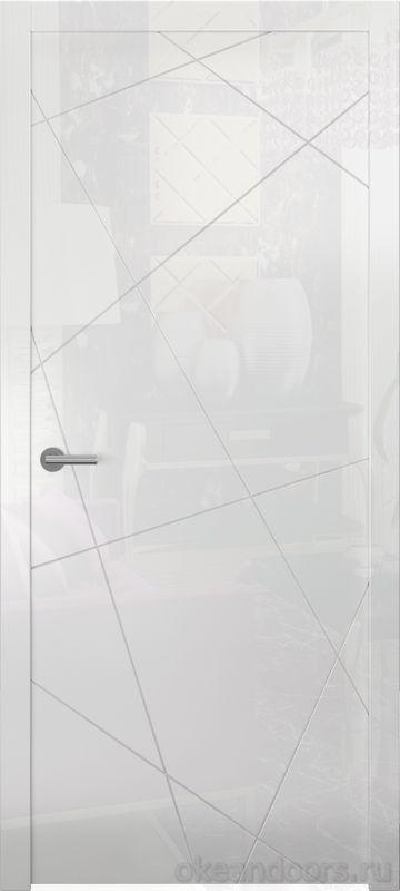 Avorio-6 (белое глянец, дизайн полотна Line)
