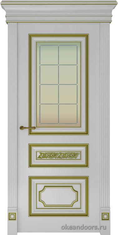 Dinastia-2 (стекло Решетка, белая, патина золото)