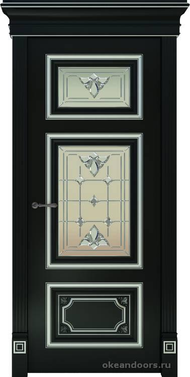Dinastia-3 (стекло Классика, черный, патина белая)