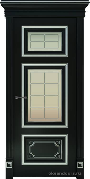 Dinastia-3 (стекло Решетка, черная, патина белая)