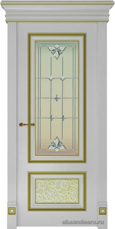 Dinastia-4 (стекло Классика, белая, патина золото)