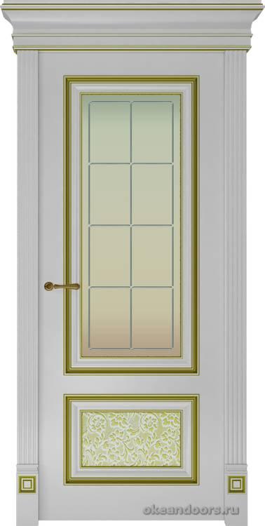 Dinastia-4 (стекло Решетка, белая, патина золото)