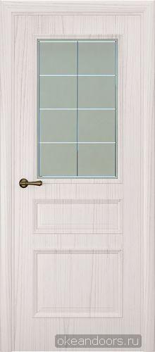 Milano-1 ясень белый жемчуг, стекло белое решетка