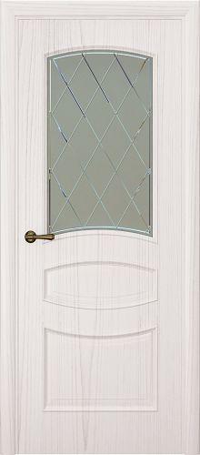 Milano-2, ясень белый жемчуг, стекло белое ромб