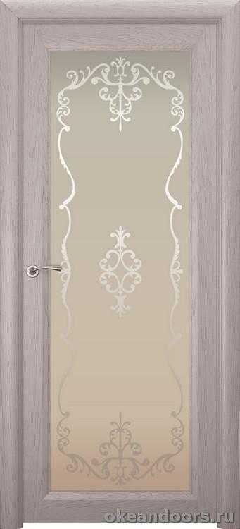 Optima 1 натуральный дуб серый, стекло белое Ажур