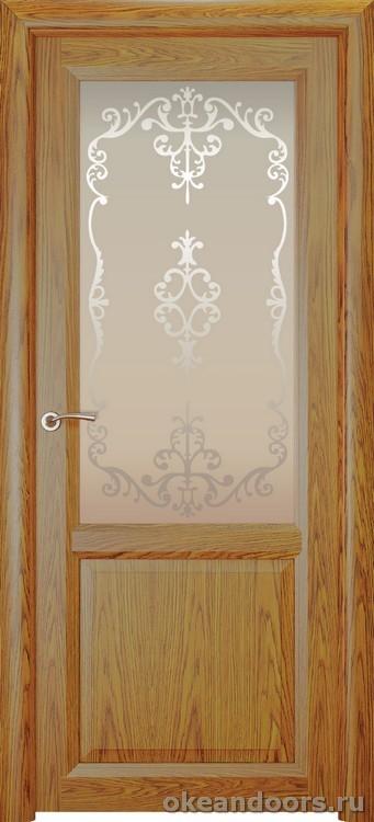 Optima 2, натуральный дуб золотой, стекло белое Ажур