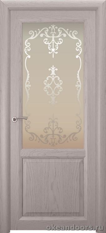 Optima 2 натуральный дуб серый, стекло белое Ажур