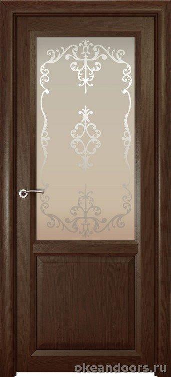 Optima 2, натуральный дуб шоколад, стекло белое Ажур