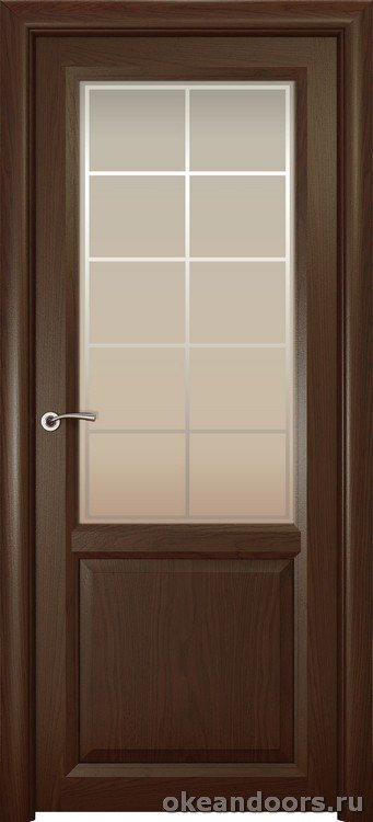 Optima 2, натуральный дуб шоколад, стекло белое Решетка