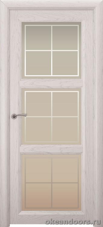 Optima 3, натуральный дуб белый жемчуг, стекло белое Решетка