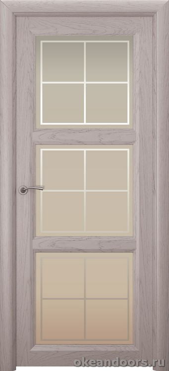 Optima 3, натуральный дуб серый, стекло белое Решетка