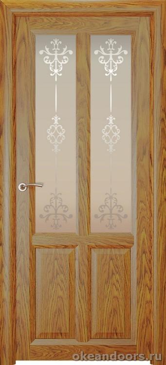 Optima-4, натуральный дуб золотой, стекло белое Ажур