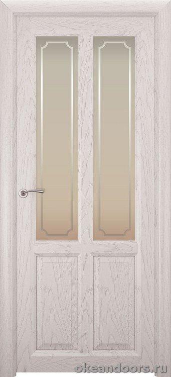 Optima-4, натуральный дуб белый жемчуг, стекло белое Рамка