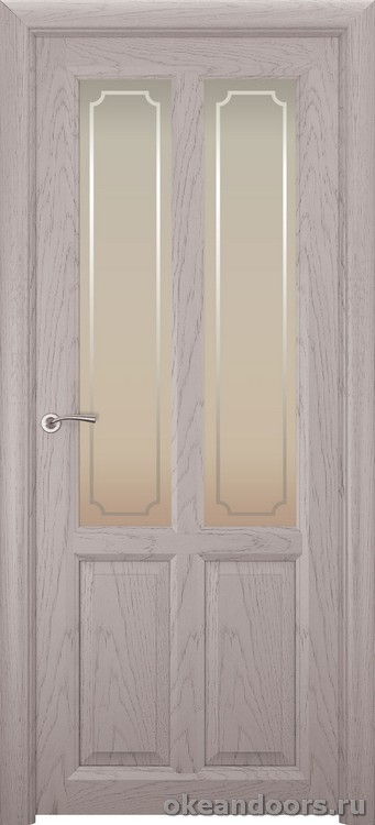 Optima-4, натуральный дуб серый, стекло белое Рамка