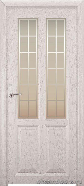 Optima-4, натуральный дуб белый жемчуг, стекло белое Решетка