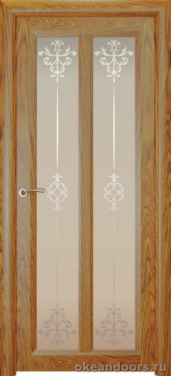 Optima-5, натуральный дуб золотой, стекло белое Ажур