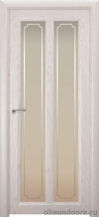Optima-5, натуральный дуб белый жемчуг, стекло белое Рамка