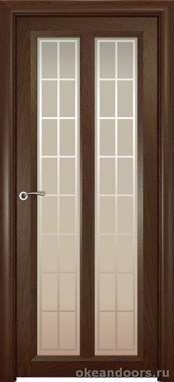 Optima-5, натуральный дуб шоколад, стекло белое Решетка