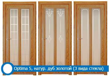 Оptima 5 натуральный дуб золотой (3 типа стекла)