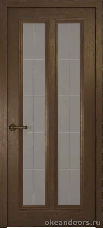 Riva Classica 3, дуб табачный, стекло с гравировкой Решетка