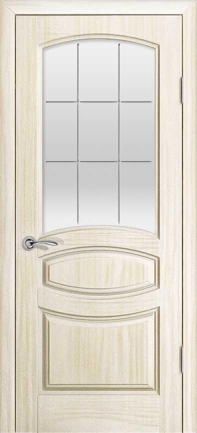 Двери Океан Изабелла (Ясень белый жемчуг), стекло белое решетка