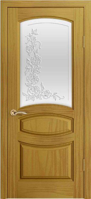 Двери Океан Изабелла (ясень шервуд), стекло белое