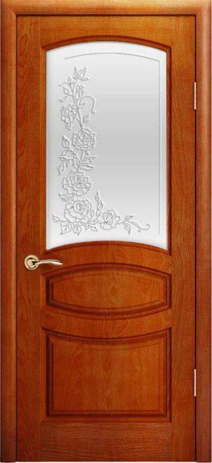 Двери Океан Изабелла (красное дерево), стекло белое