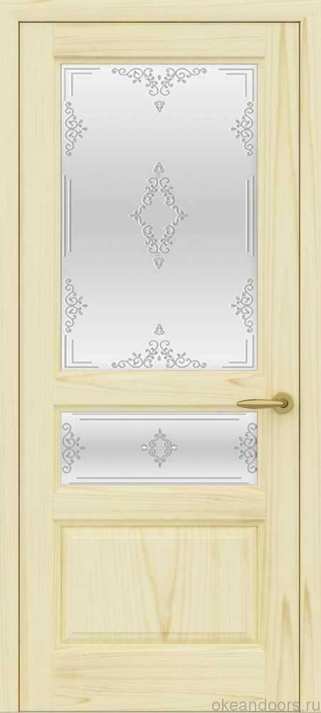 Двери Океан Марсель (ясень слоновая кость), стекло белое