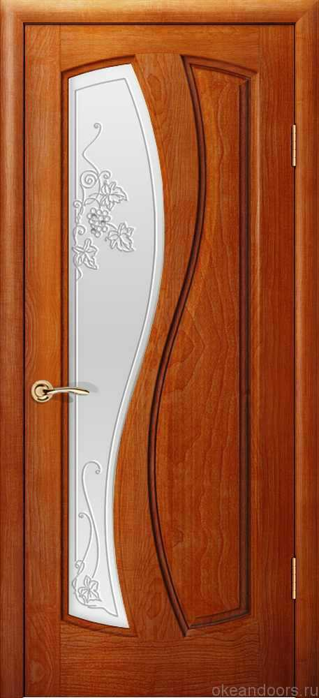 Двери Океан Шарм (красное дерево), стекло белое