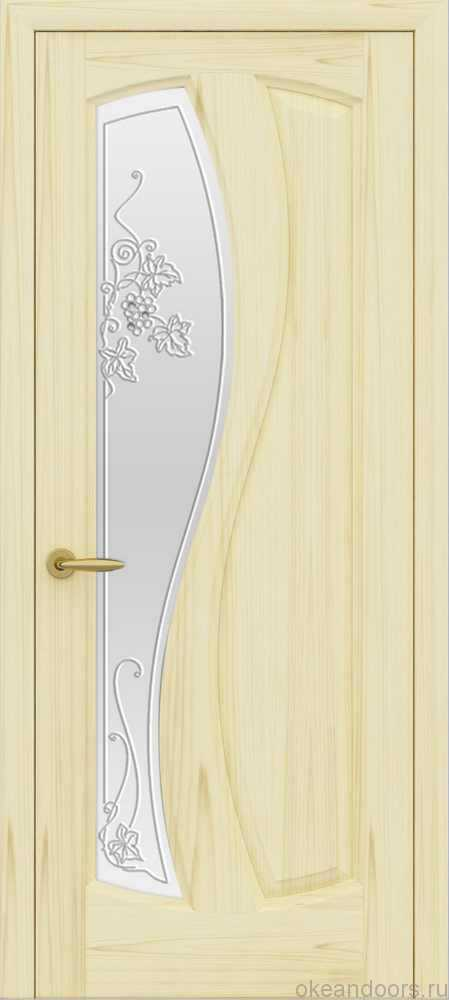 Двери Океан Шарм (ясень слоновая кость), стекло белое