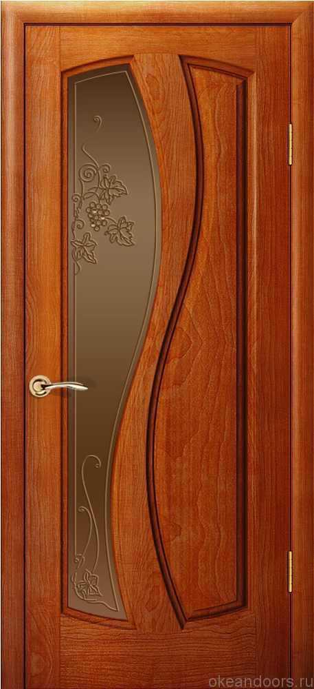 Двери Океан Шарм (красное дерево), стекло бронзовое