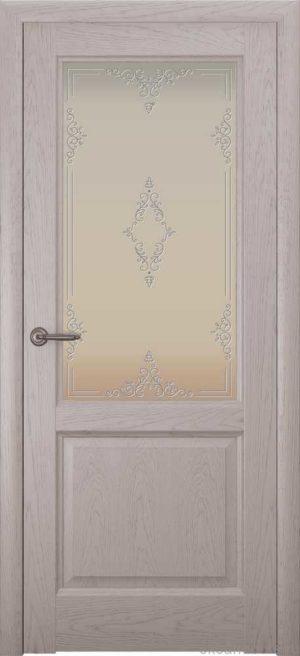 Двери Океан Парма (дуб серый), стекло белое
