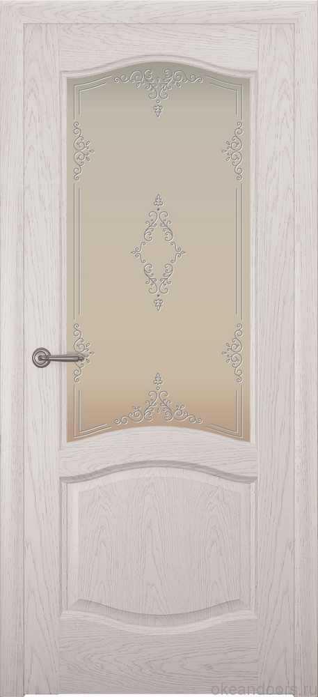Двери Океан София (дуб белый жемчуг), стекло белое