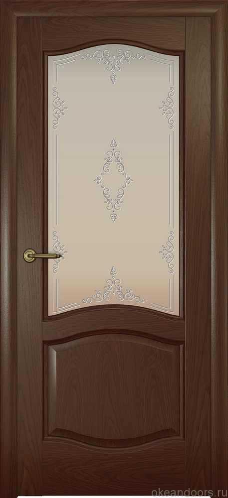 Двери Океан София (дуб шоколад), стекло белое