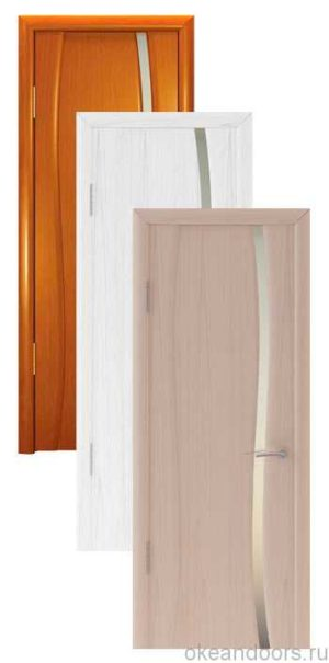 Коллекция дверей Океан Буревестник-1 (10 цветов) с белым узким стеклом
