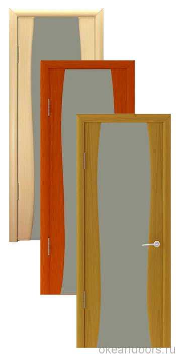Коллекция дверей Океан Буревестник-2 (10 цветов) с песочным широким стеклом