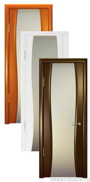 Коллекция дверей Океан Буревестник-2 (10 цветов) с белым широким стеклом