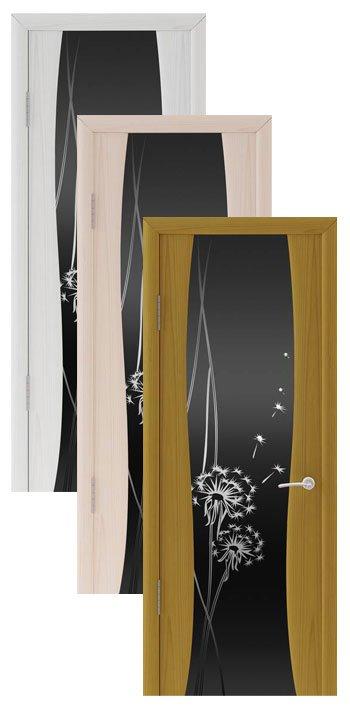 """Коллекция дверей Океан Буревестник-2 """"Одуванчик"""" (10 цветов, черное стекло)"""