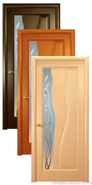 Коллекция дверей Океан Гольфстрим (3 цвета, белое стекло)