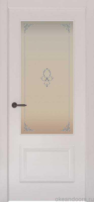 Дверь Provence 2 (белая эмаль, стекло белое Виола)
