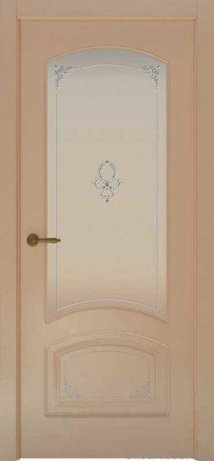Дверь Provence 4 Flora (капучино, стекло белое)