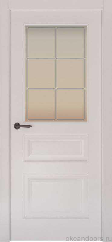 Дверь Provence 3 (белая эмаль, стекло белое Решетка)