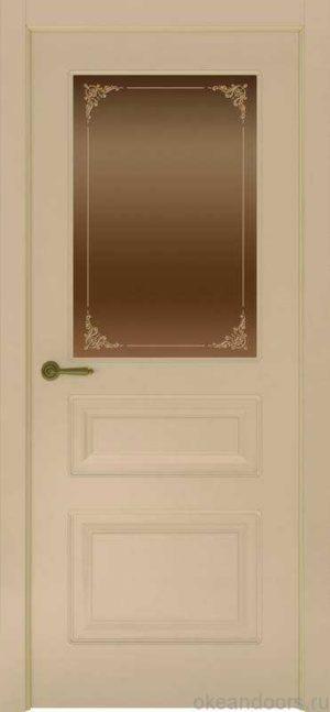 Дверь Provence 3 (слоновая кость, стекло бронзовое Виола)