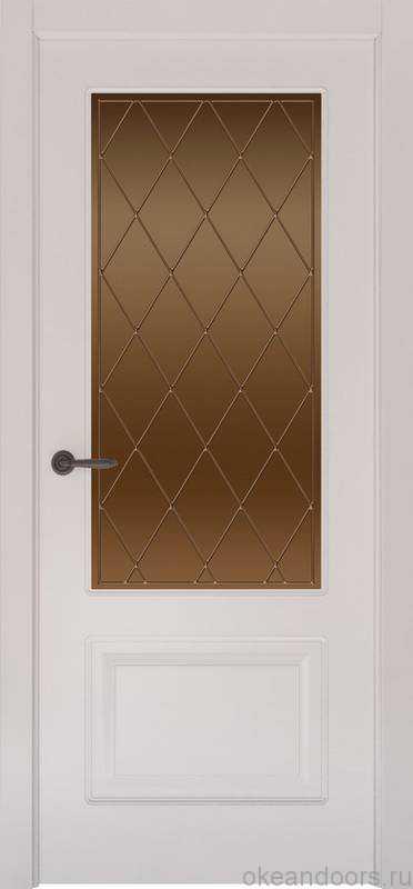 Дверь Provence 2 (белая эмаль, стекло бронзовое Ромб)