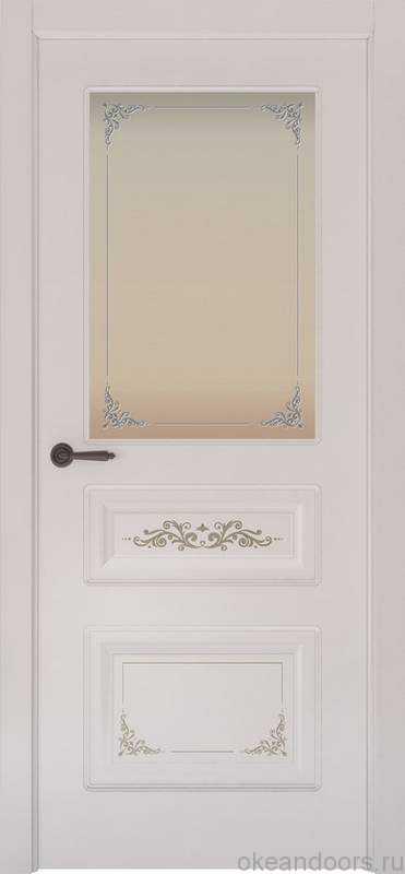 Дверь Океан Provence 3 Flora (белая эмаль, белое стекло)