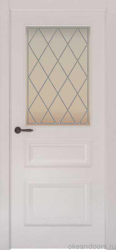 Дверь Provence 3 (белая эмаль, стекло белое Ромб)