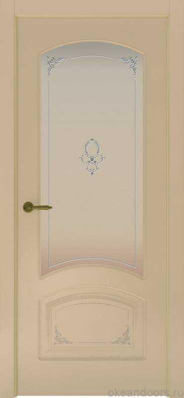 Дверь Provence 4 Flora (слоновая кость, стекло белое)